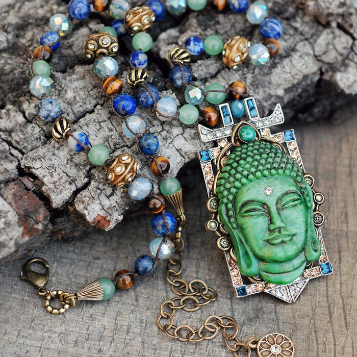 Tranquility Vintage Glass Buddha Necklace N1346 - Sweet Romance Wholesale