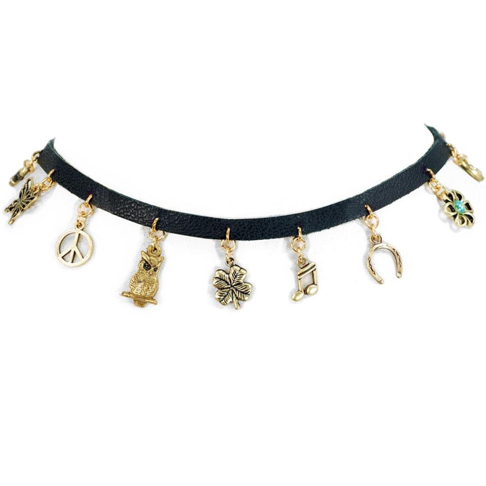 Tiny Charms 1960s Leather Choker N1352 - Sweet Romance Wholesale