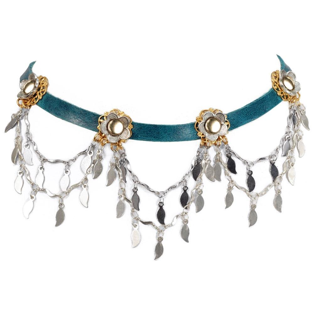 Flower Sparkling Swag 1960s Leather Choker N1353