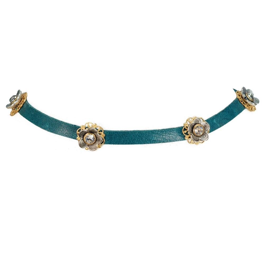 Flower Power 1960s Leather Choker N1354