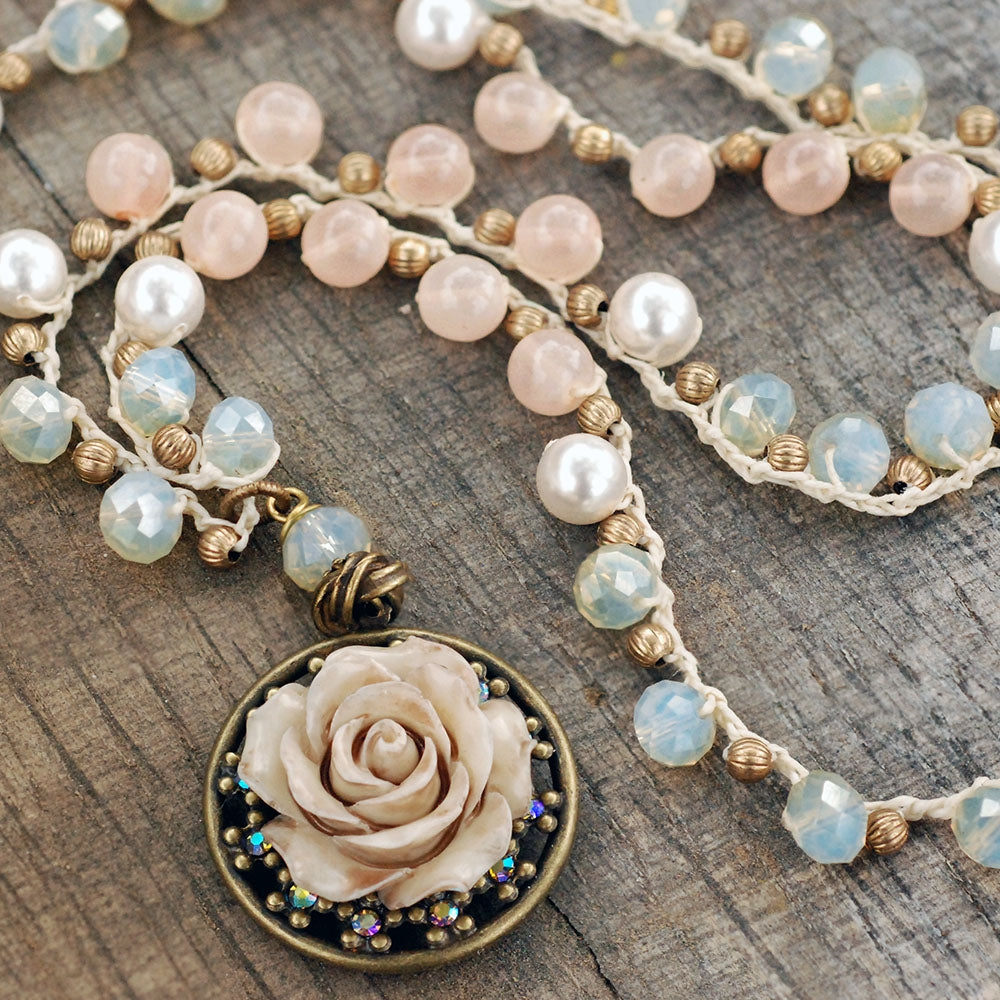 Peach Opal Dawn Beaded Necklace with Vintage Rose Pendant - Sweet Romance Wholesale