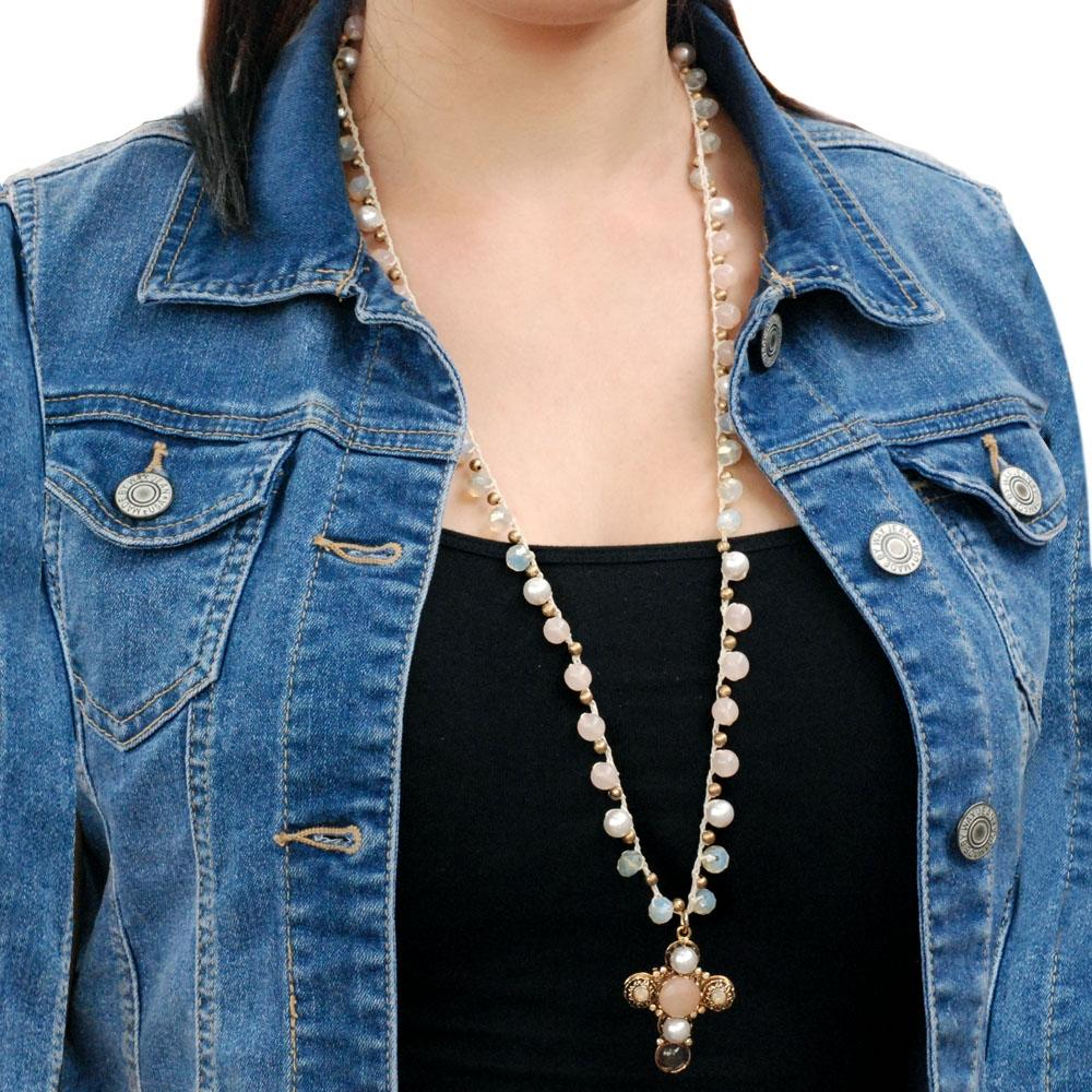 Peach Opal Dawn Cross Necklace N1372