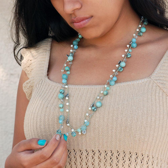 Cancun Dbl Strand- Gem Blues N1373 - Sweet Romance Wholesale
