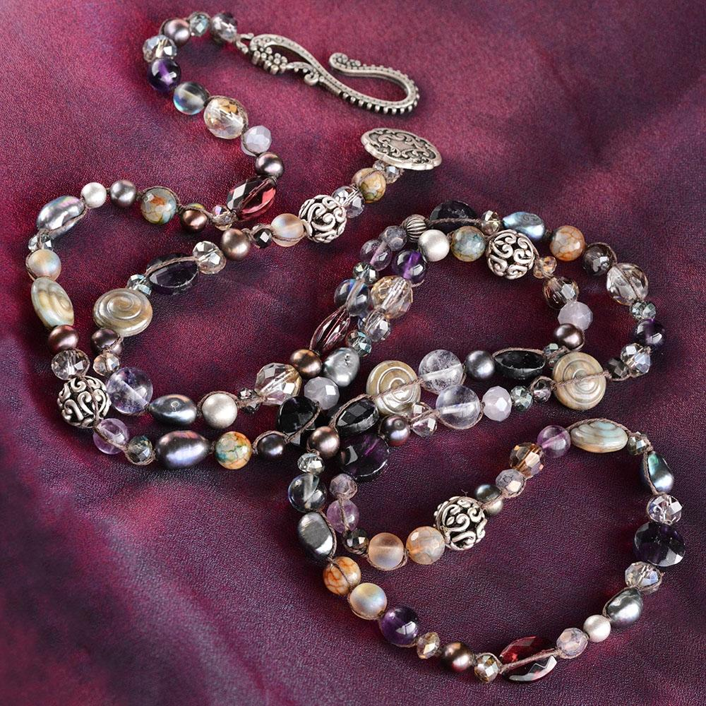 Gemstone Boho Beaded Necklace and Earring Set