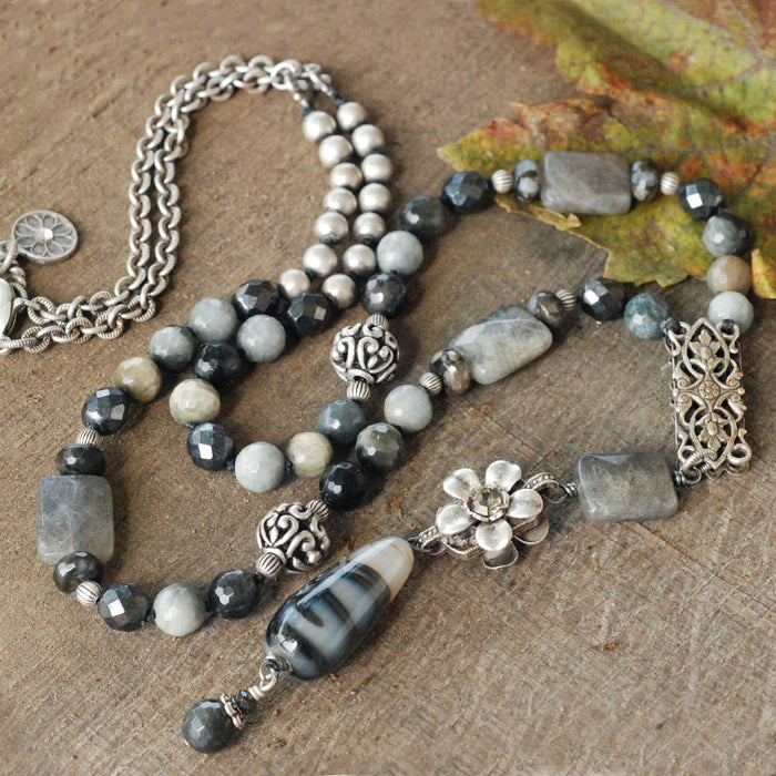 Serenity Dove Gray Agates Necklace N1375 - Sweet Romance Wholesale