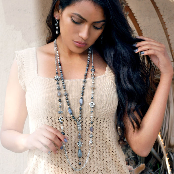 Serene Agate Chain Necklace N1377 - Sweet Romance Wholesale