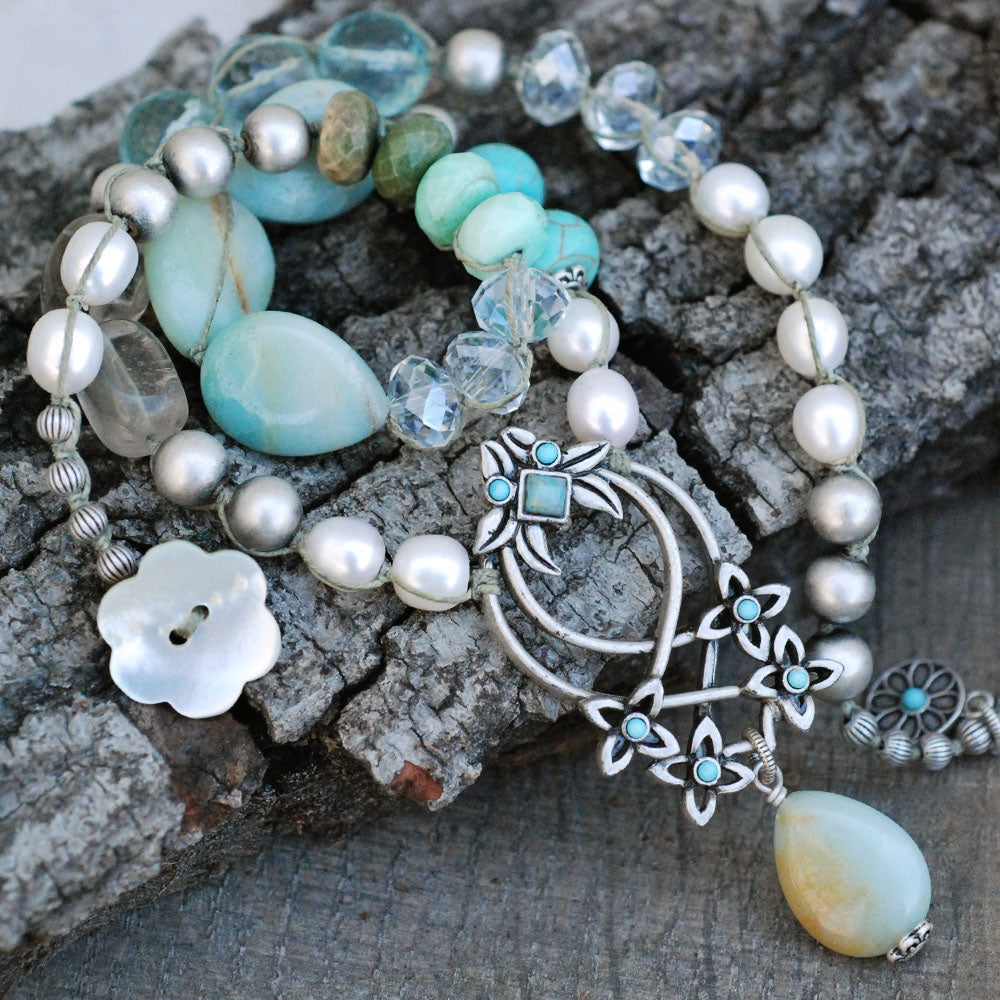 Boho Beach Gemstone and Pearl Necklace N1378 - Sweet Romance Wholesale