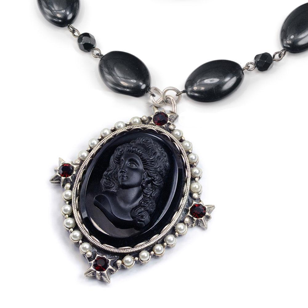 Vintage Jet Black Cameo Necklace N1383 - Sweet Romance Wholesale