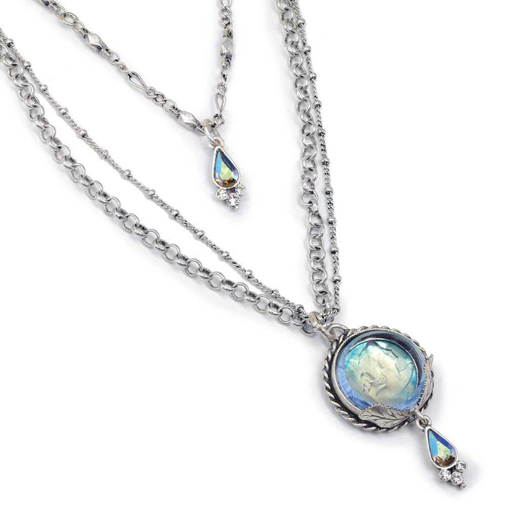 Akantha Long Glass Intaglio Necklace N1393 - Sweet Romance Wholesale