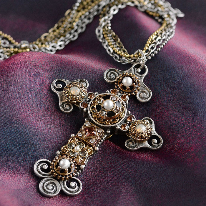 Vintage Jeweled Cross Necklace - Sweet Romance Wholesale
