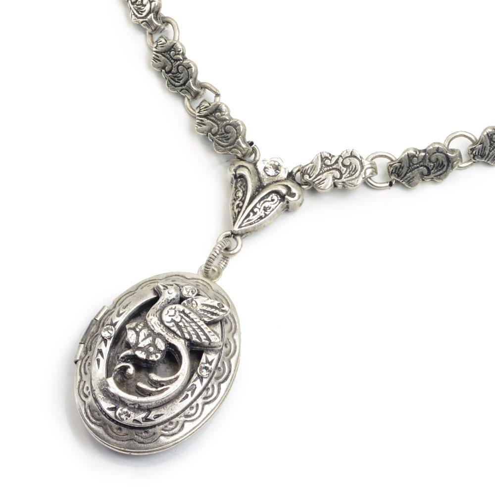 Bird Locket on Victorian Chain N1405 - Sweet Romance Wholesale