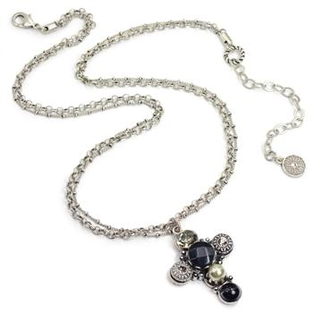 Boho Jet Cross Necklace N1408 - Sweet Romance Wholesale