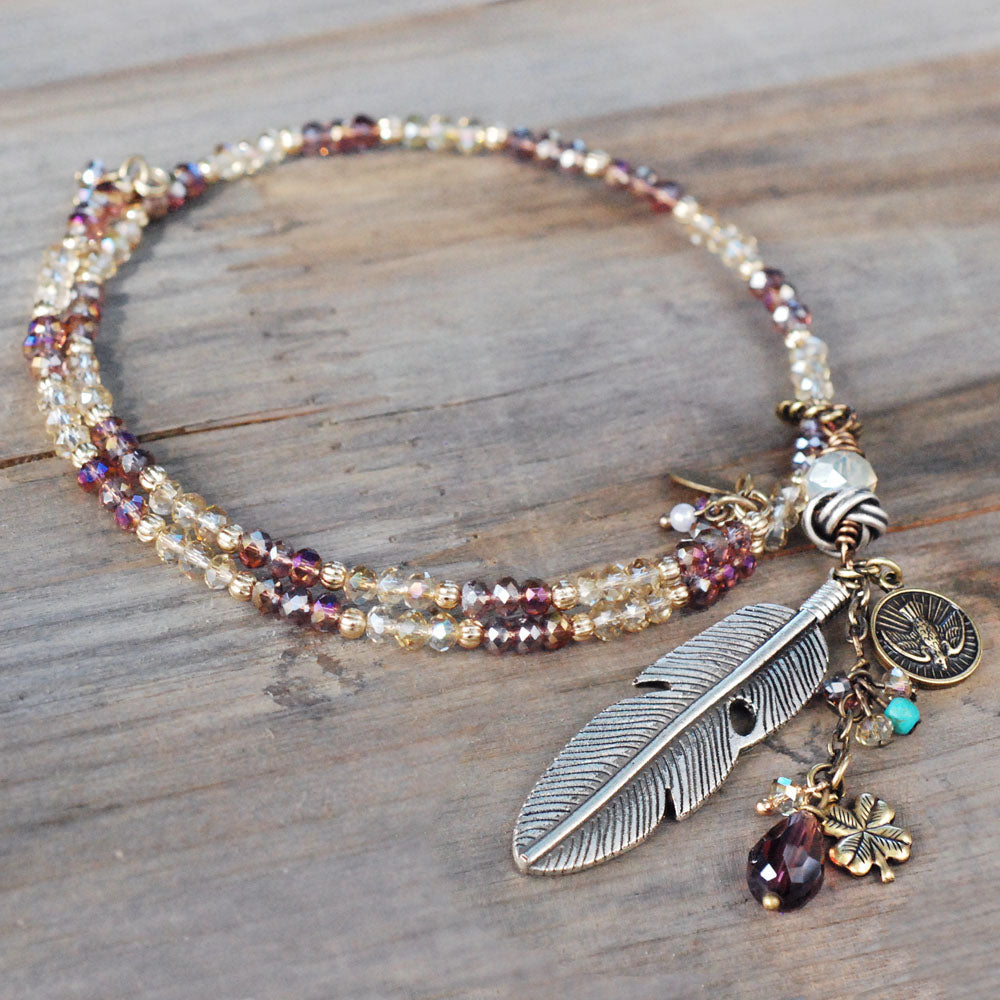 Boho Beaded Feather Choker Necklace N1418