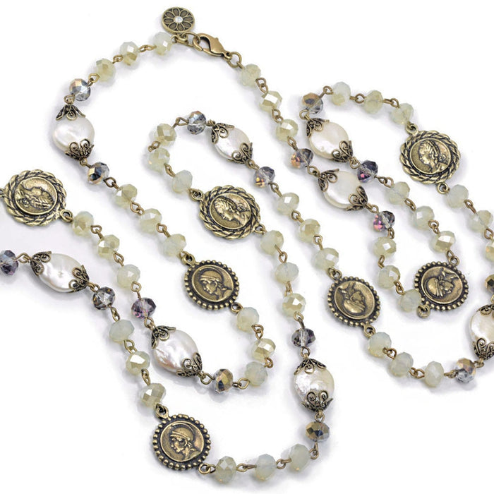Opal Glass, Pearl Coin Necklace
