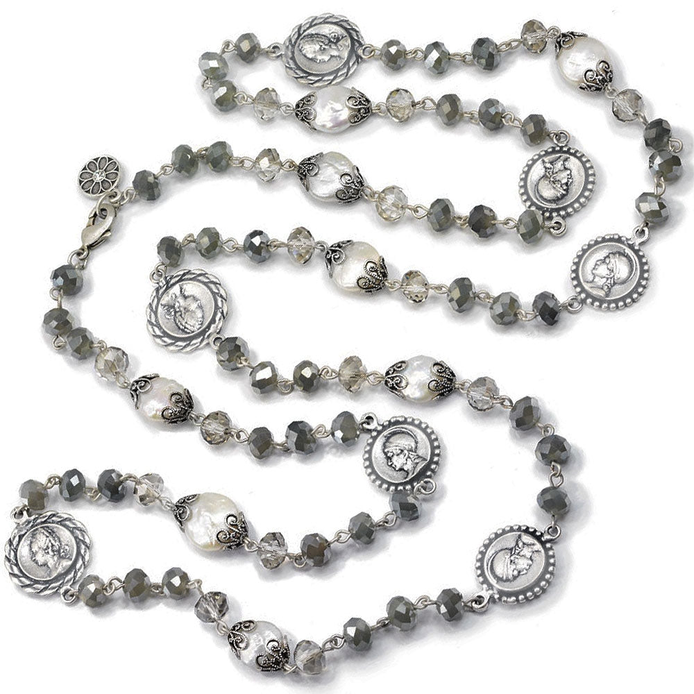 Opal Glass, Pearl Coin Necklace - Sweet Romance Wholesale