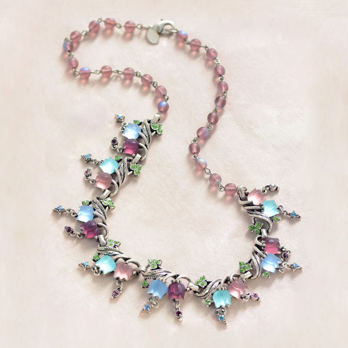 Pastel Satin Tulips Necklace N144 - Sweet Romance Wholesale