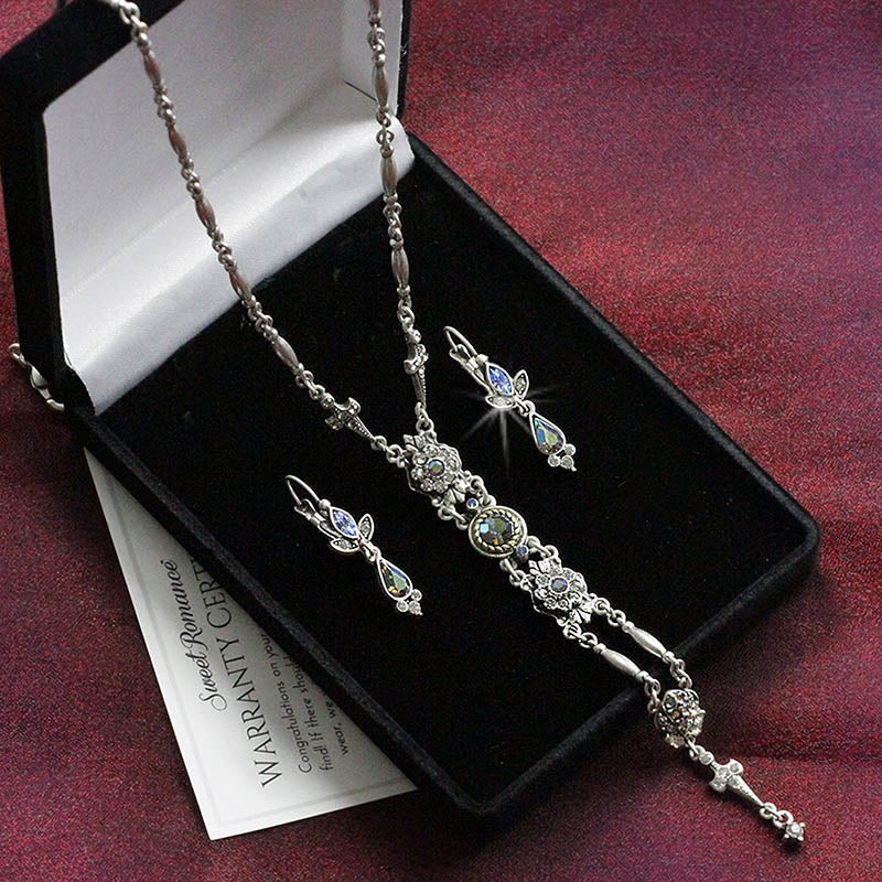 Starlight Silver Y Necklace and Earring Set - Sweet Romance Wholesale