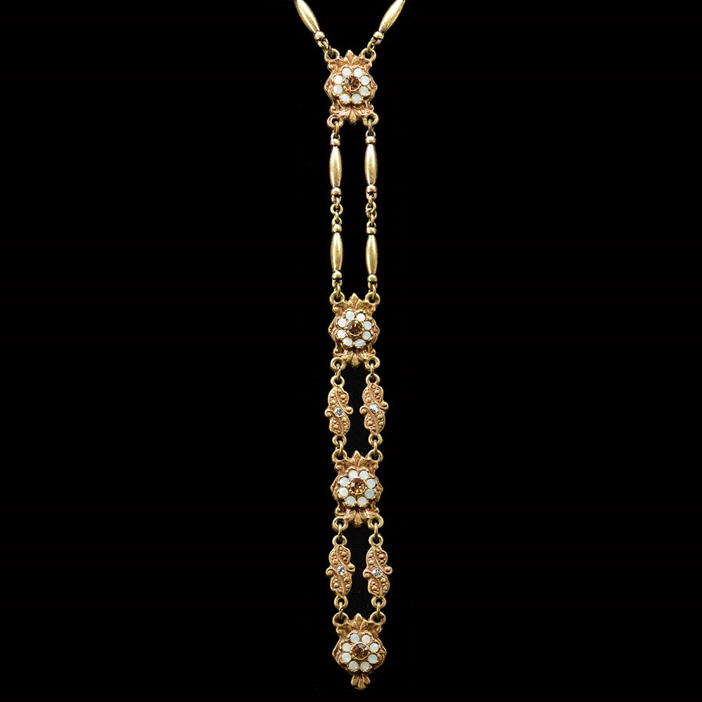 Art Deco Vintage Gold Opal Y Necklace - Sweet Romance Wholesale