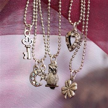 Tiny Charm Necklaces - Silver - Sweet Romance Wholesale