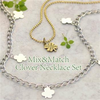 Clover Charm Layering Necklace and Tiny Clover Charm Necklace Set