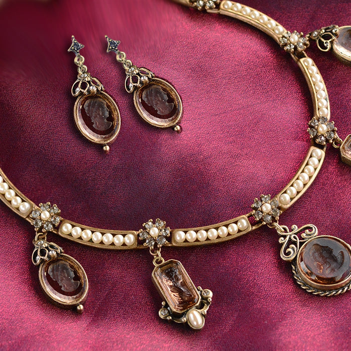 Marjorelle Intaglio and Pearls Collar Necklace - Sweet Romance Wholesale