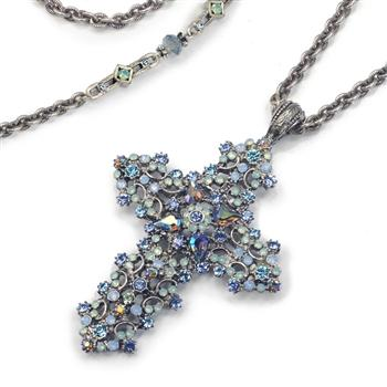 Crystal and Lace Cross Necklace N1465 - Sweet Romance Wholesale