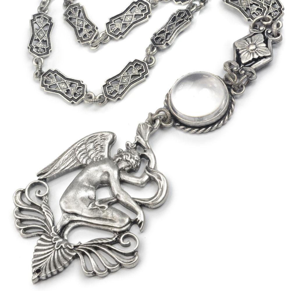 Winged Venus Angel and Crystal Orb Necklace N1468 - Sweet Romance Wholesale