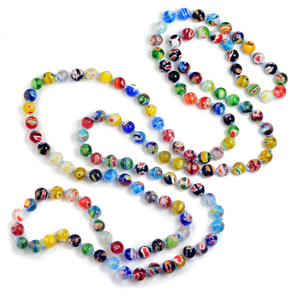 Millefiori Glass Round Knotted Beads Necklace N1473 - Sweet Romance Wholesale