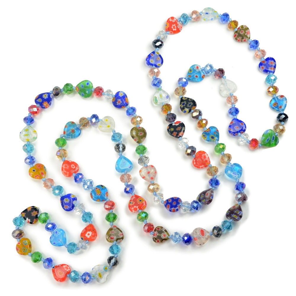 Millefiori Glass Hearts Knotted Beads Necklace