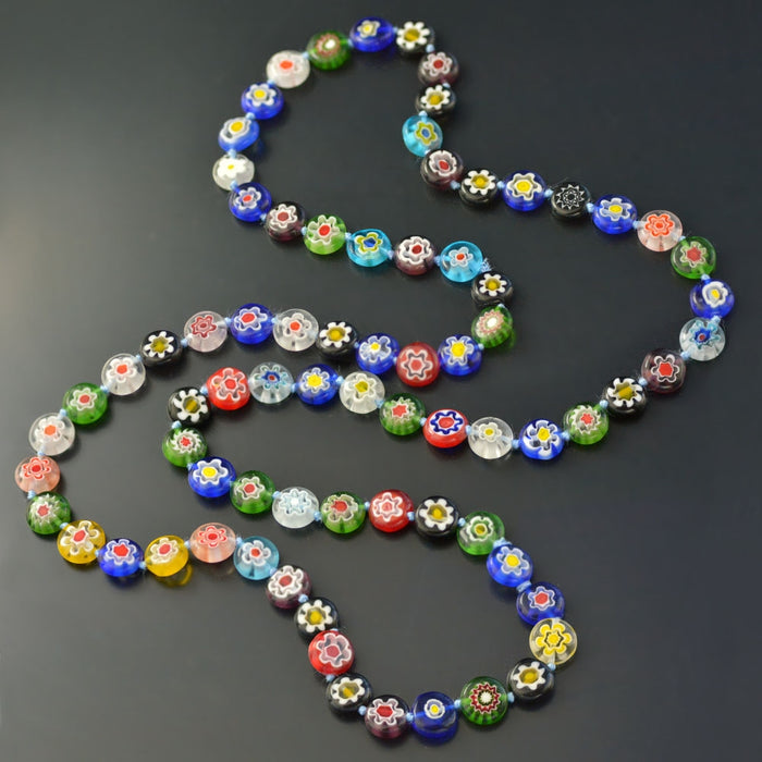 Millefiori Glass Lantern Knotted Beads Necklace