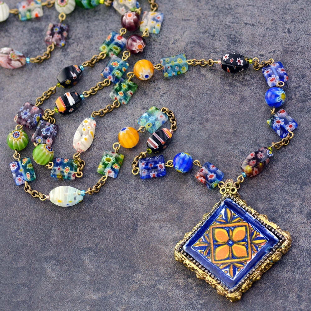 Millefiori Beads Talavera Tile Pendant Necklace PRE-ORDER N1483 - Sweet Romance Wholesale