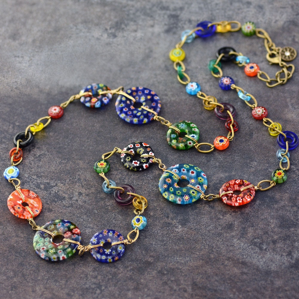 Millefiori Glass Circles Rainbow Modern Necklace - Sweet Romance Wholesale