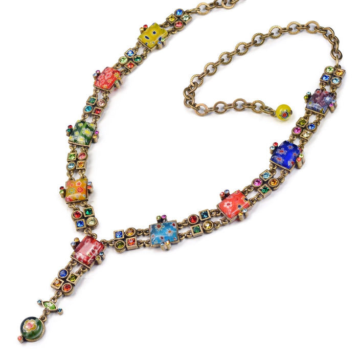 Millefiori Glass Geometric Link Y Necklace - Sweet Romance Wholesale