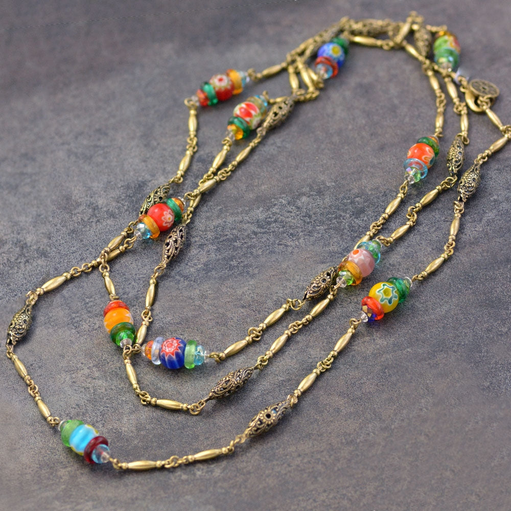 Long Millefiori Beads Chain Necklace - Sweet Romance Wholesale