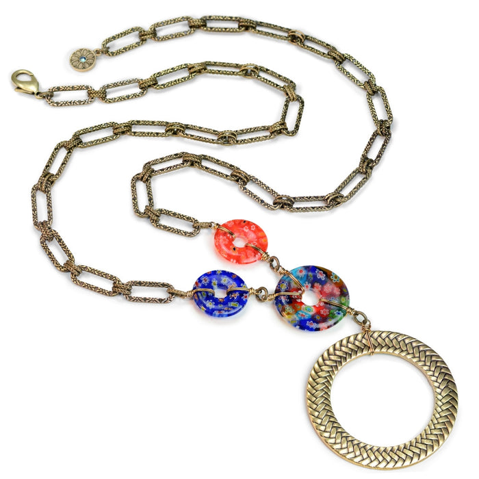 Millefiori Glass Modern Circle Necklace - Sweet Romance Wholesale