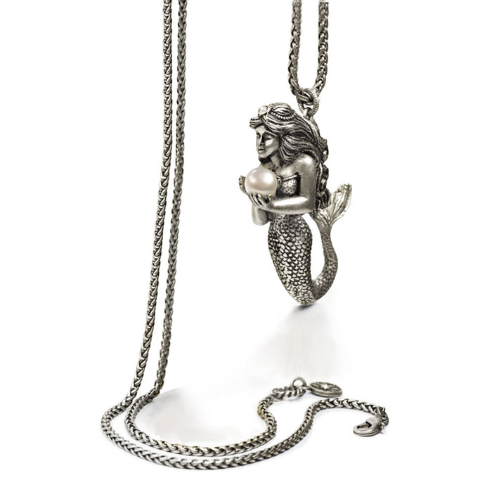Mermaid Sculpture and Pearl Pendant Necklace