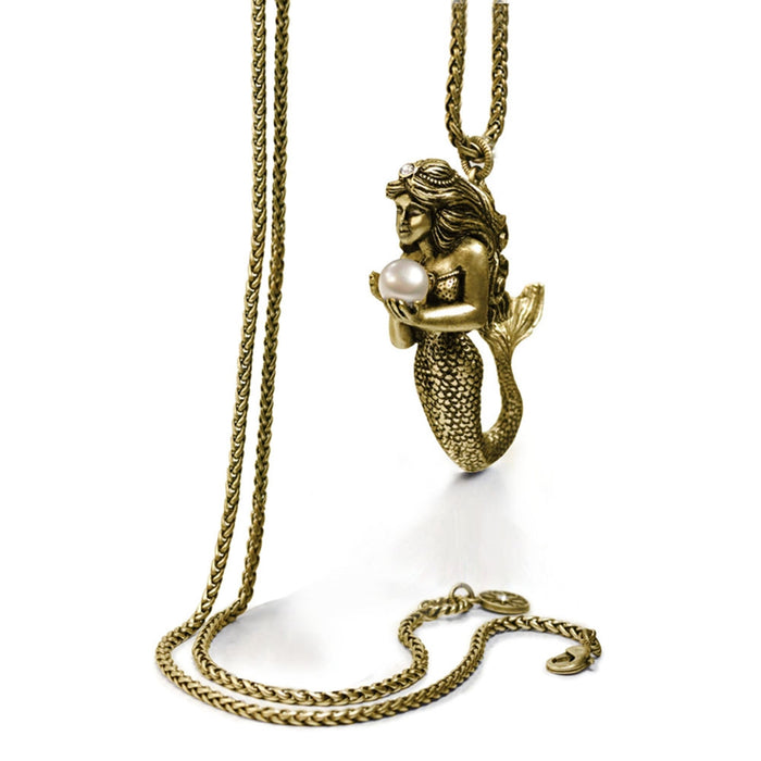 Mermaid Sculpture and Pearl Pendant Necklace - Sweet Romance Wholesale