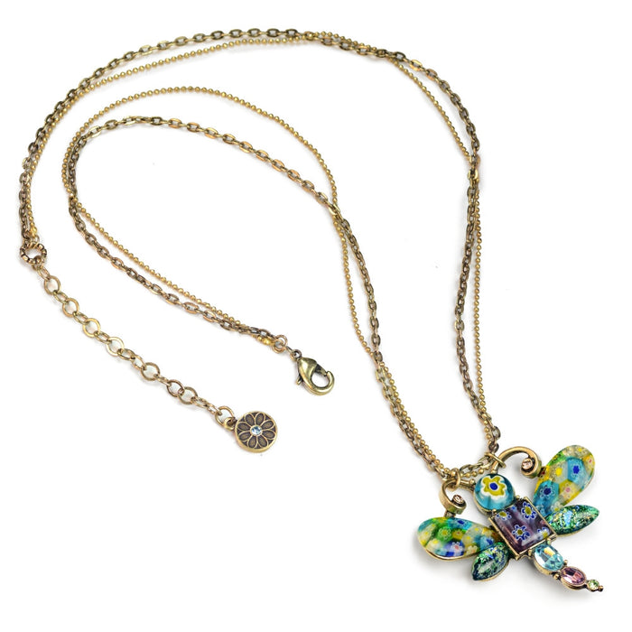 Millefiori Glass Dragonfly Pendant Necklace - Sweet Romance Wholesale