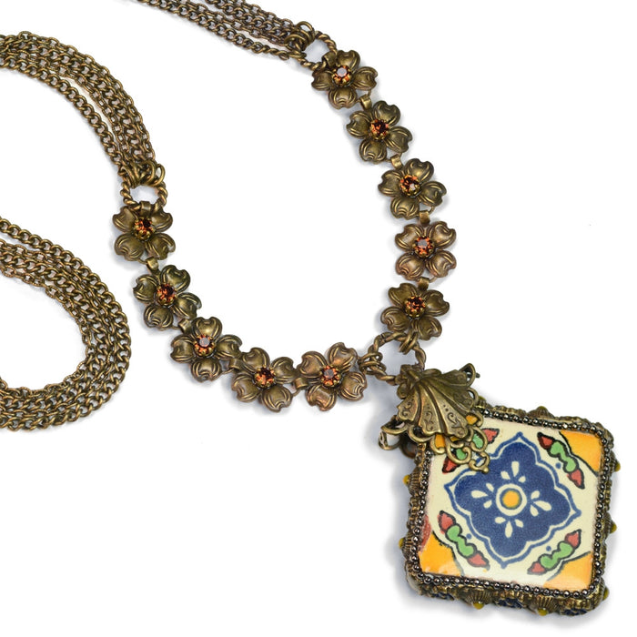 Talavera Tile Flower Boho Necklace PRE-ORDER N1498 - Sweet Romance Wholesale