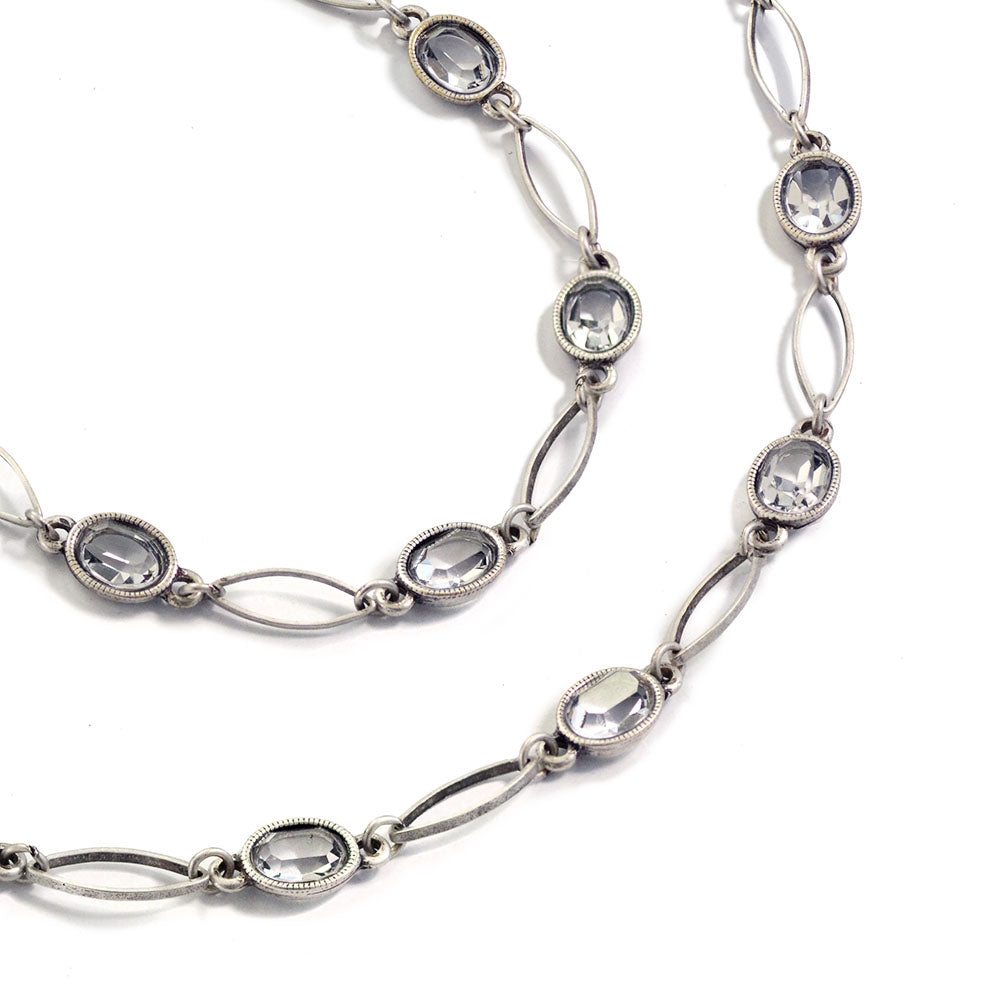 Oval Crystal Station Necklace - Sweet Romance Wholesale