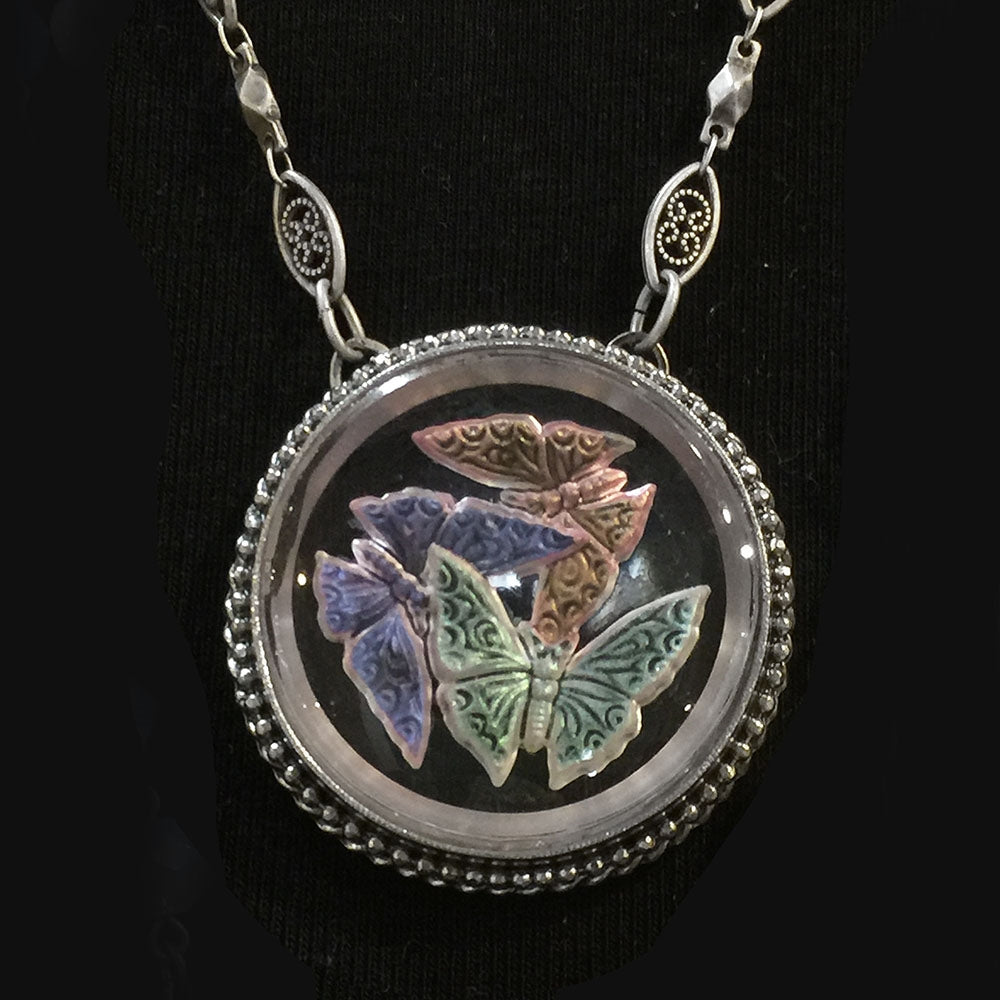 Pastel Butterfly Pendant Necklace N1527 - Sweet Romance Wholesale