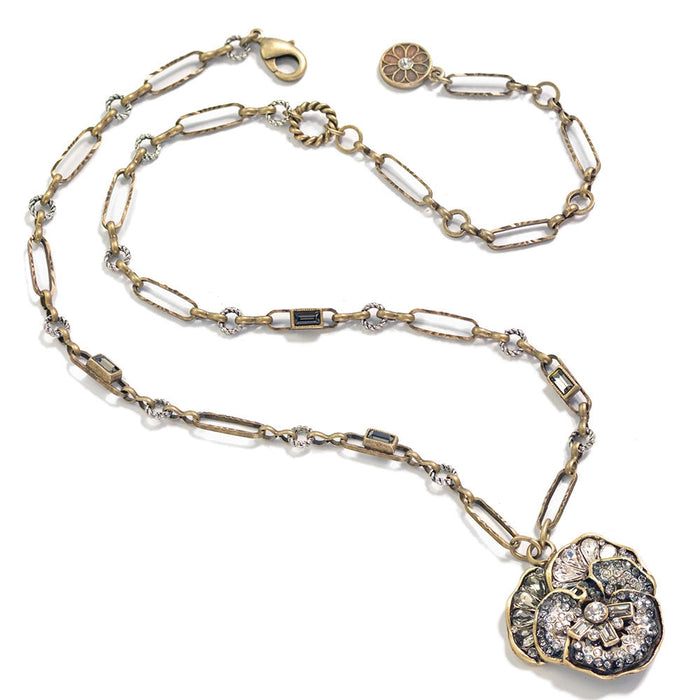 Pave Crystal Pansy Chain Necklace - Sweet Romance Wholesale