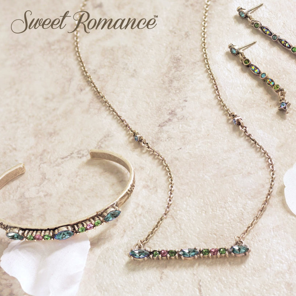 Silver Crystal Bar Necklace N1529 - Sweet Romance Wholesale