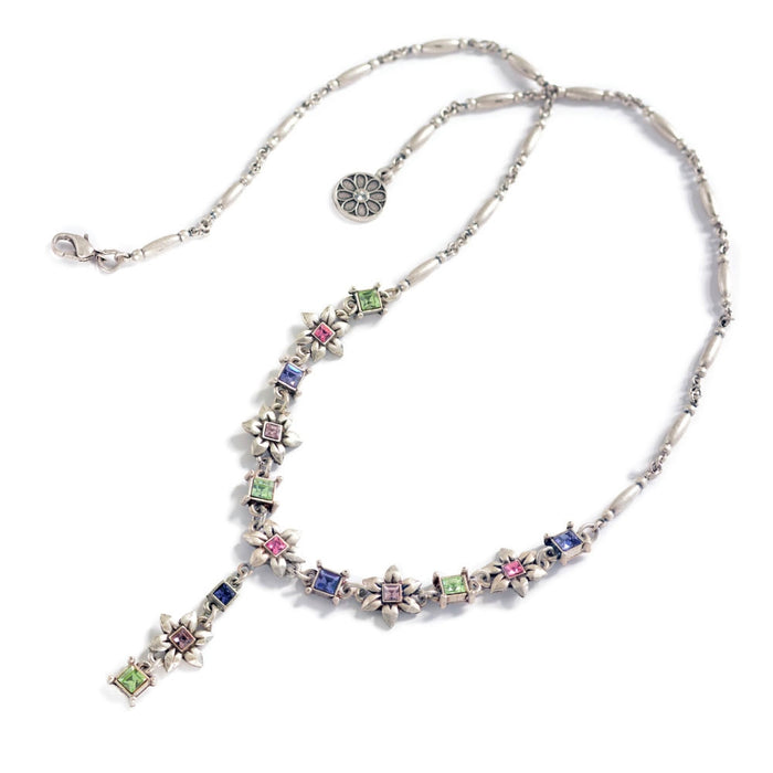 Silver Flower Chain Necklace N1530 - Sweet Romance Wholesale