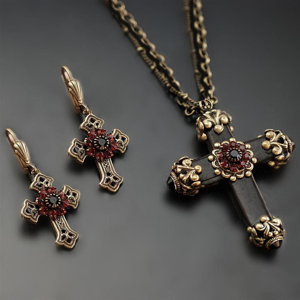 Victorian Black Cross Necklace N1570 - Sweet Romance Wholesale