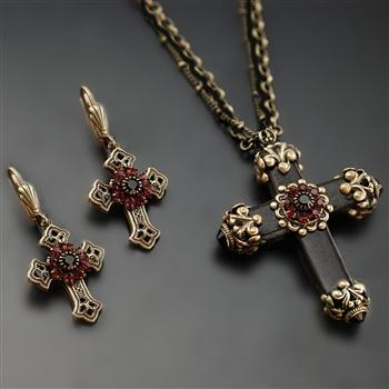 Victorian Black Cross Necklace & Earrings SET - Sweet Romance Wholesale