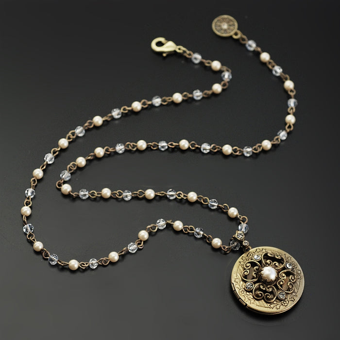 Pearl & Crystal Bronze Locket - Sweet Romance Wholesale