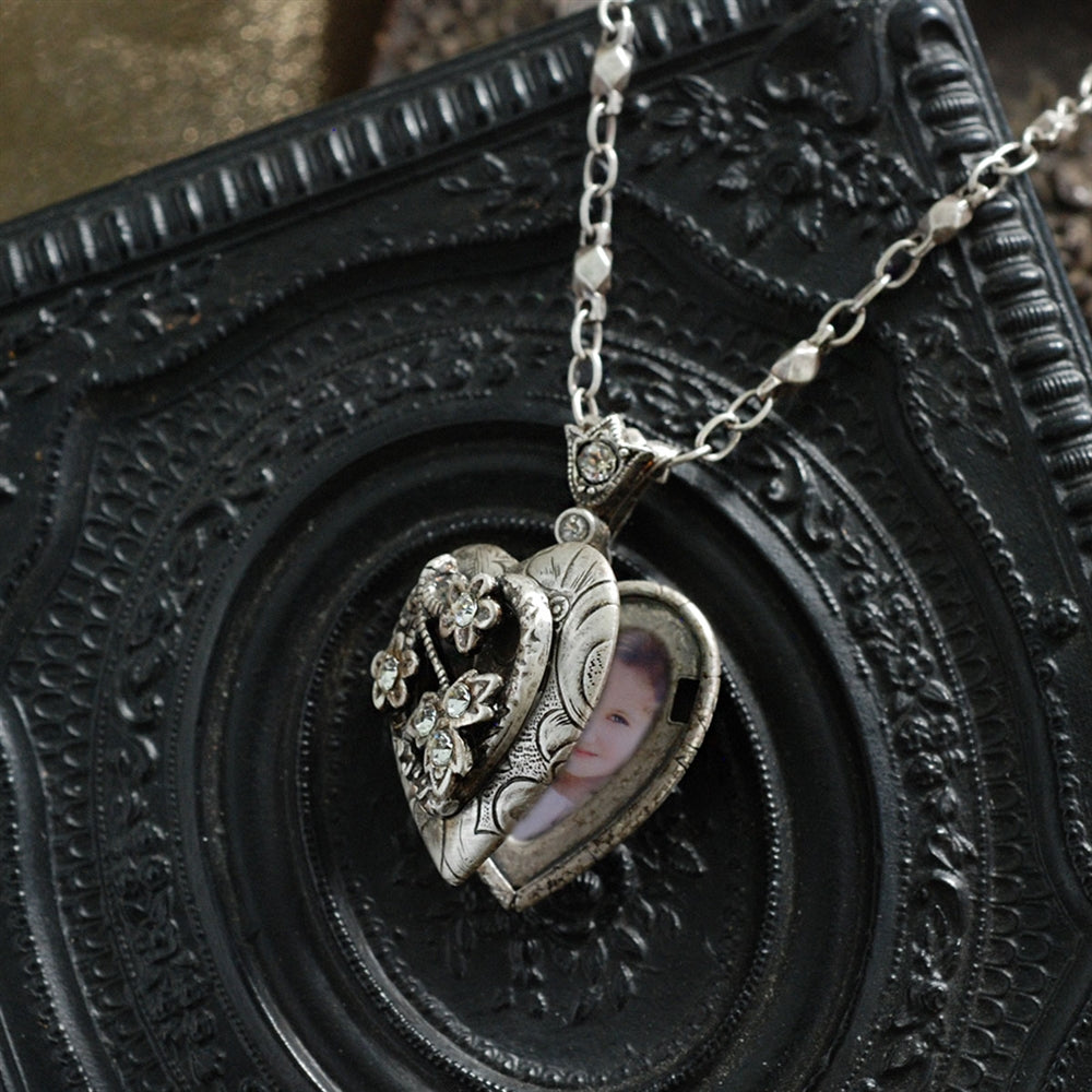 Heather Heart Silver Locket - Sweet Romance Wholesale