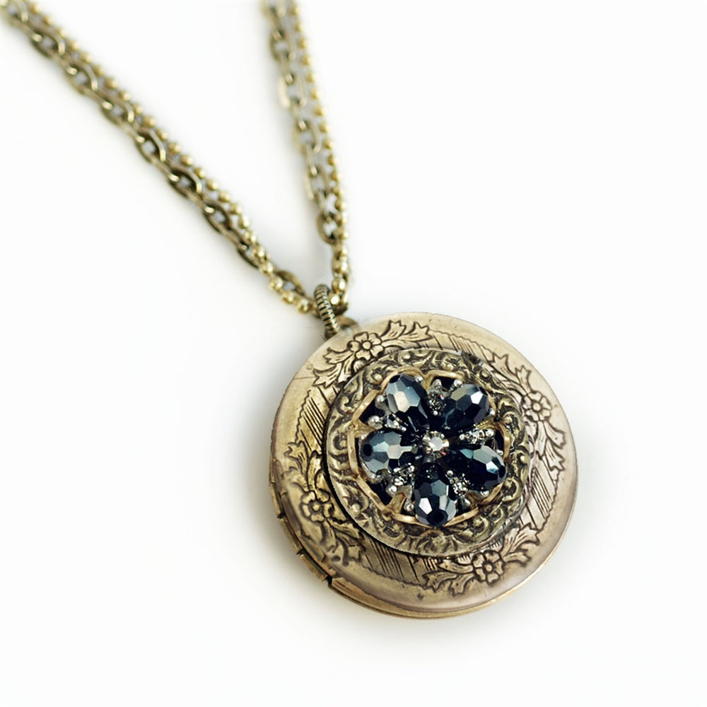 Jet Crystal Rosette Locket - Sweet Romance Wholesale