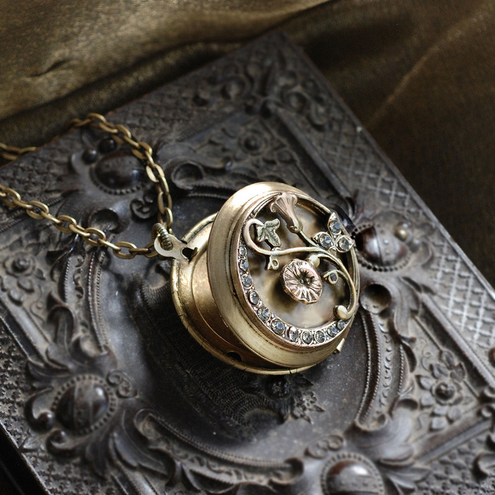 Morning Glory Bronze Locket - Sweet Romance Wholesale